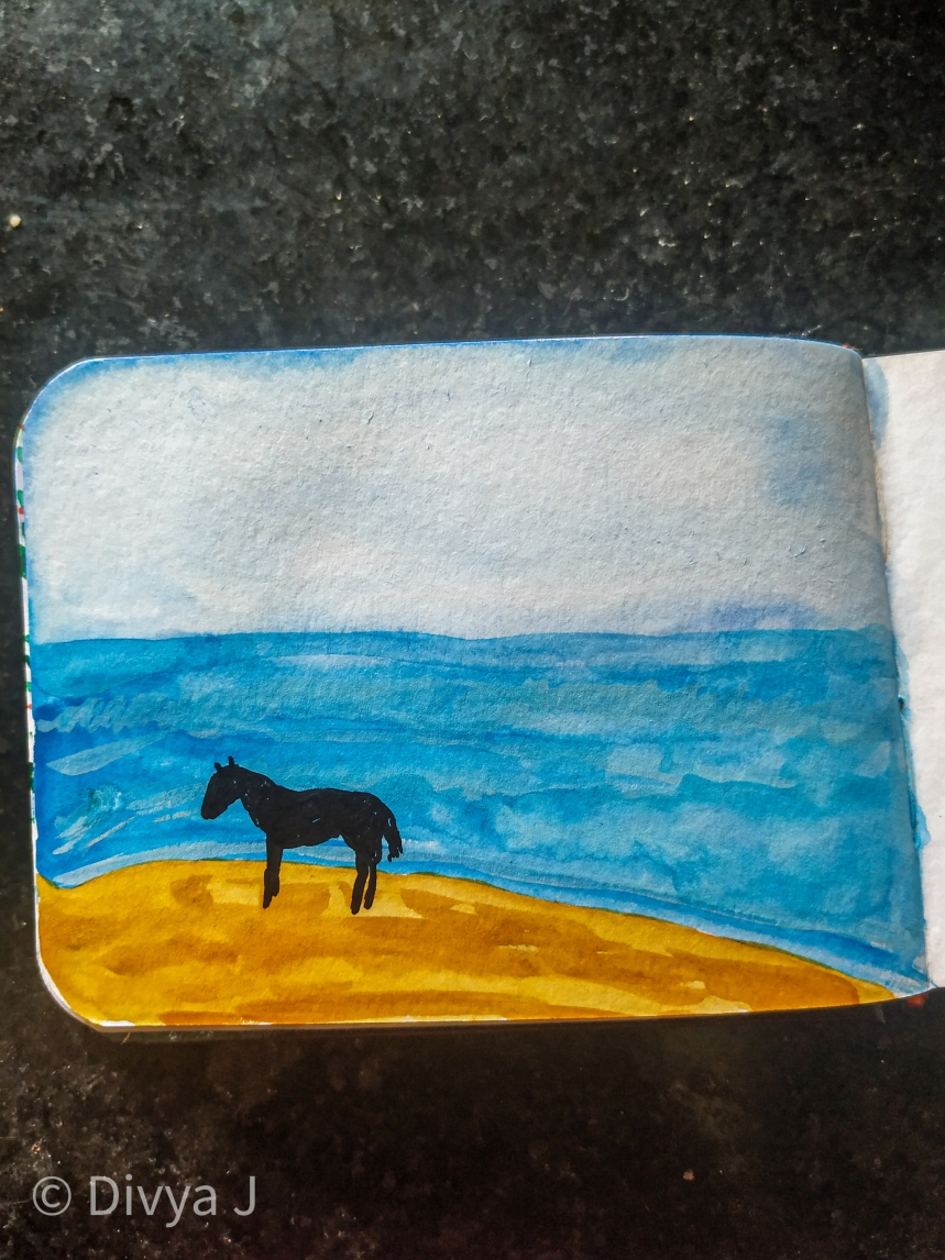 Close view of the Horse and beach on Menorah sketchbook A7 size
