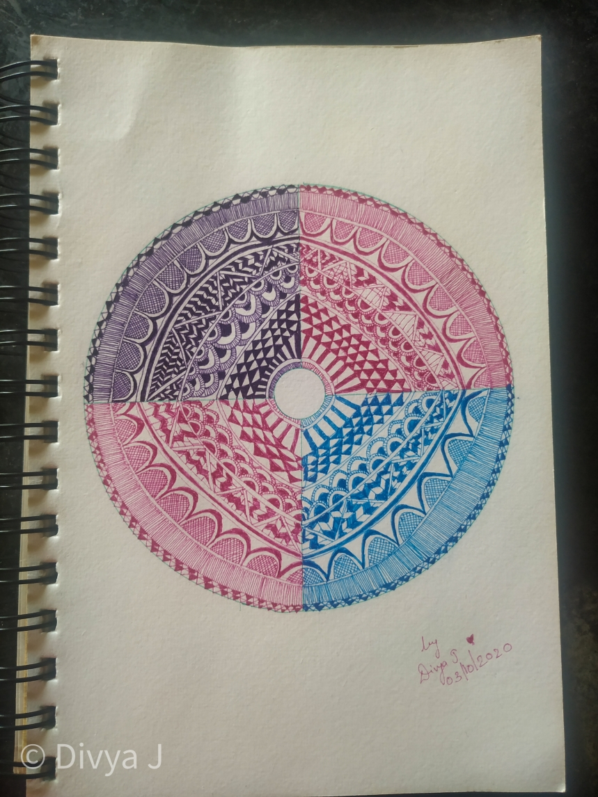 Mandala from 0.2mm colored Pigma micron pen