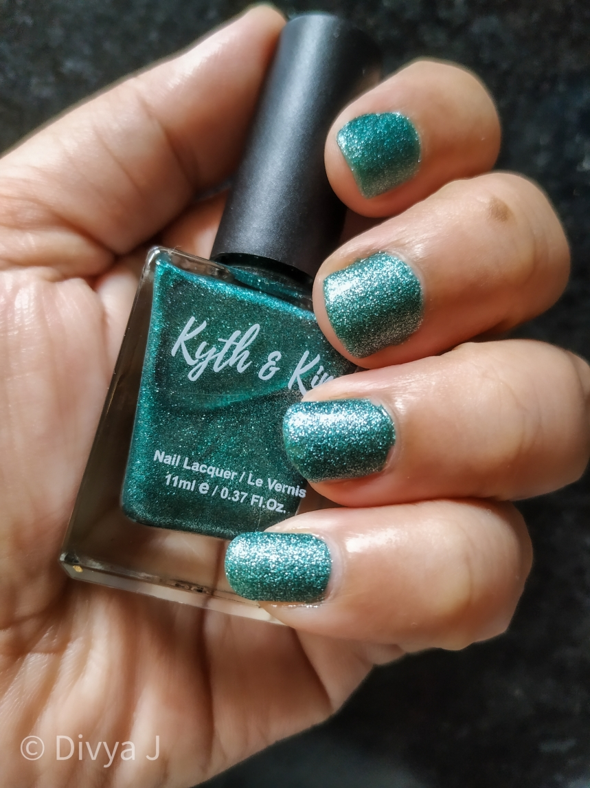 3 coats of Kyth and Kin Sugar Finish Nail Lacquer-Sugar Lust in natural day light inside house