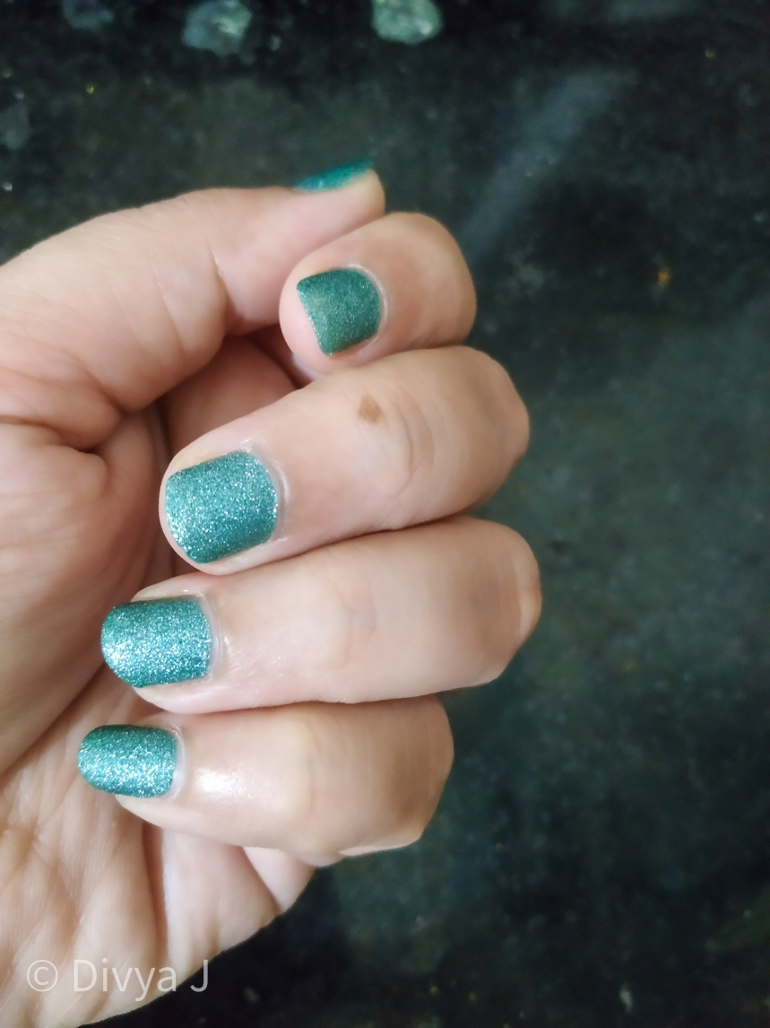 2 coats of Kyth and Kin Sugar Finish Nail Lacquer-Sugar Lust in Artificial Light night time