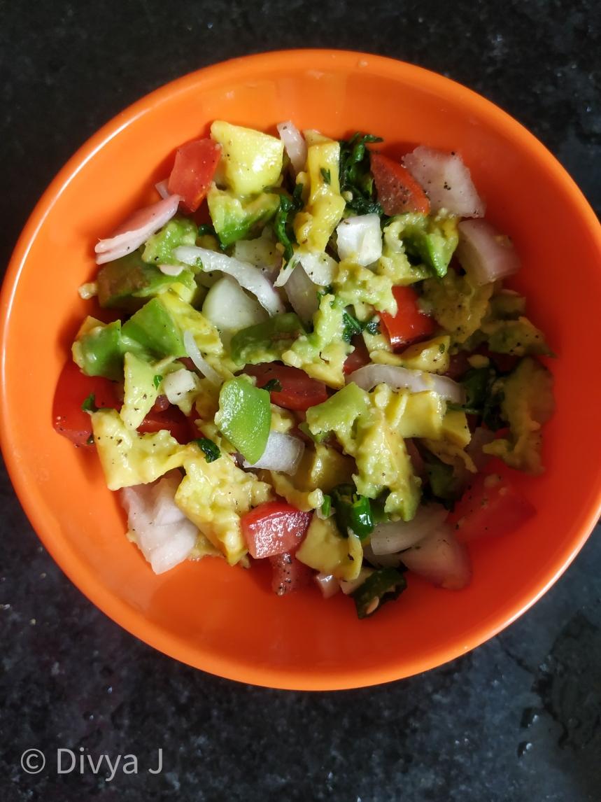 Guacamole Salad Avocado salad Indian style close Texture shot
