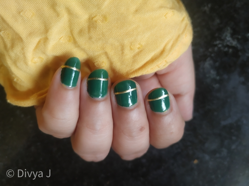 Hand swatch of Faces Canada Splash Nail Enamel-Tropical Green