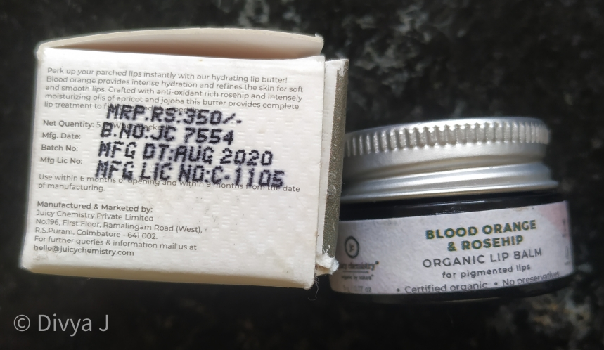 Juicy Chemistry Blood Orange and Rosehip Lip Balm Manufacturing date, MRP and Licence number