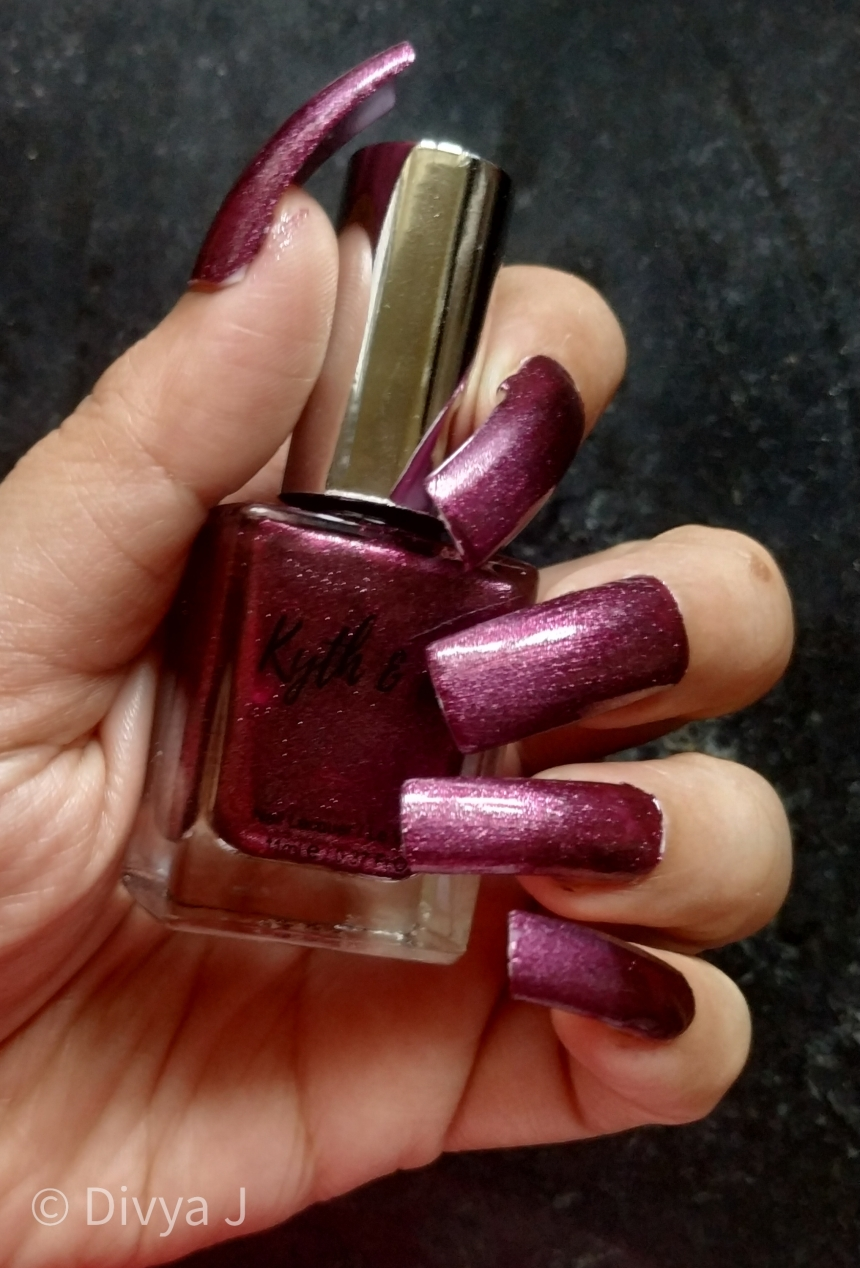 Kyth and kin Nail Lacquer Purple Haze on miss claire synthetic nail