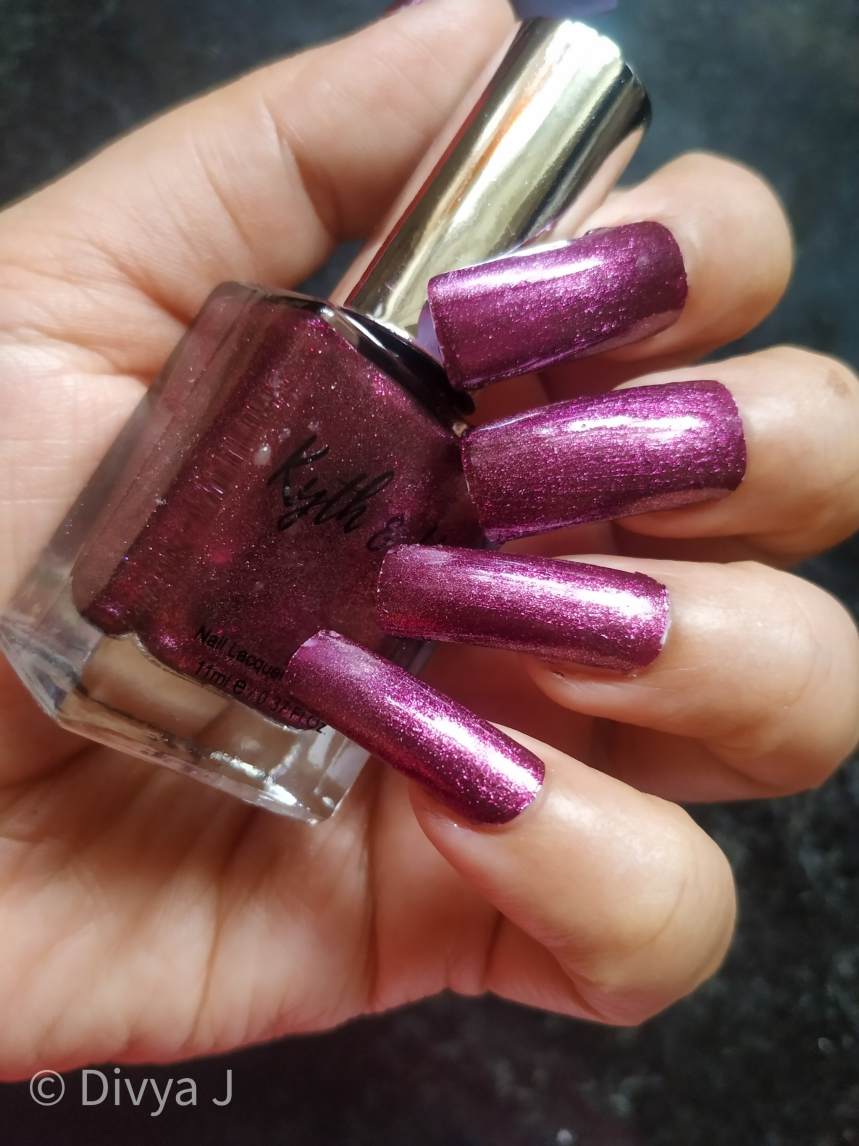 Closer look of Kyth and kin metallic nail lacquer Purple Haze