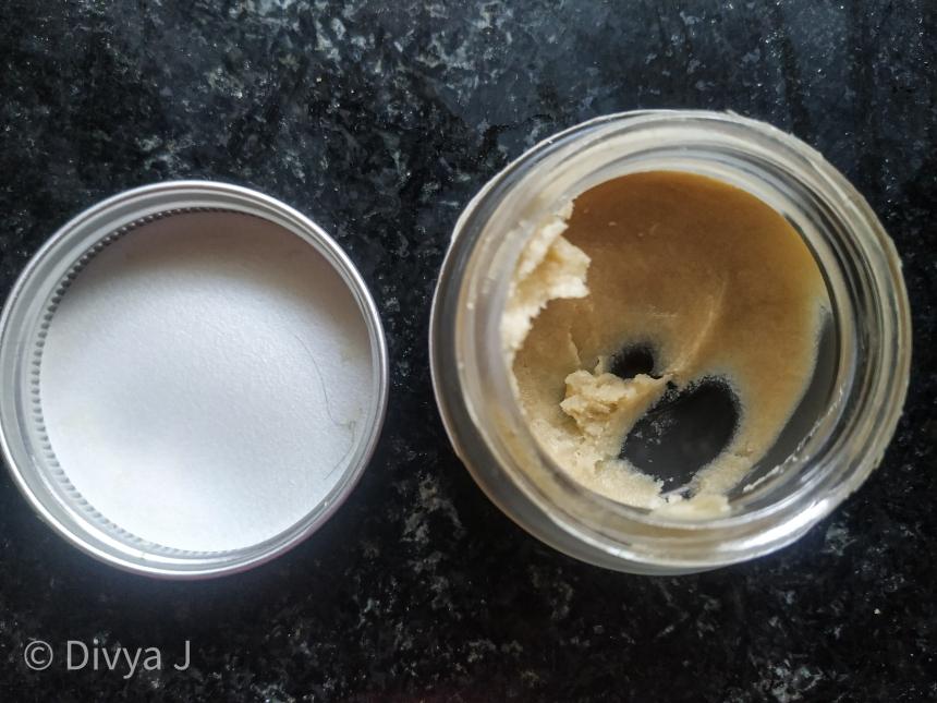 Jar shot of Juicy Chemistry Kokum Myrrh and hazelnut hand and foot cream
