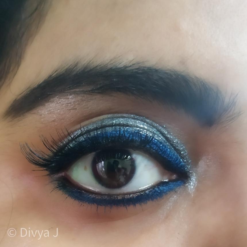 Eye makeup look using Kay by Katrina Eyeshadow stick navigator and wet n Wild Glitter Eyeshadow gun metal