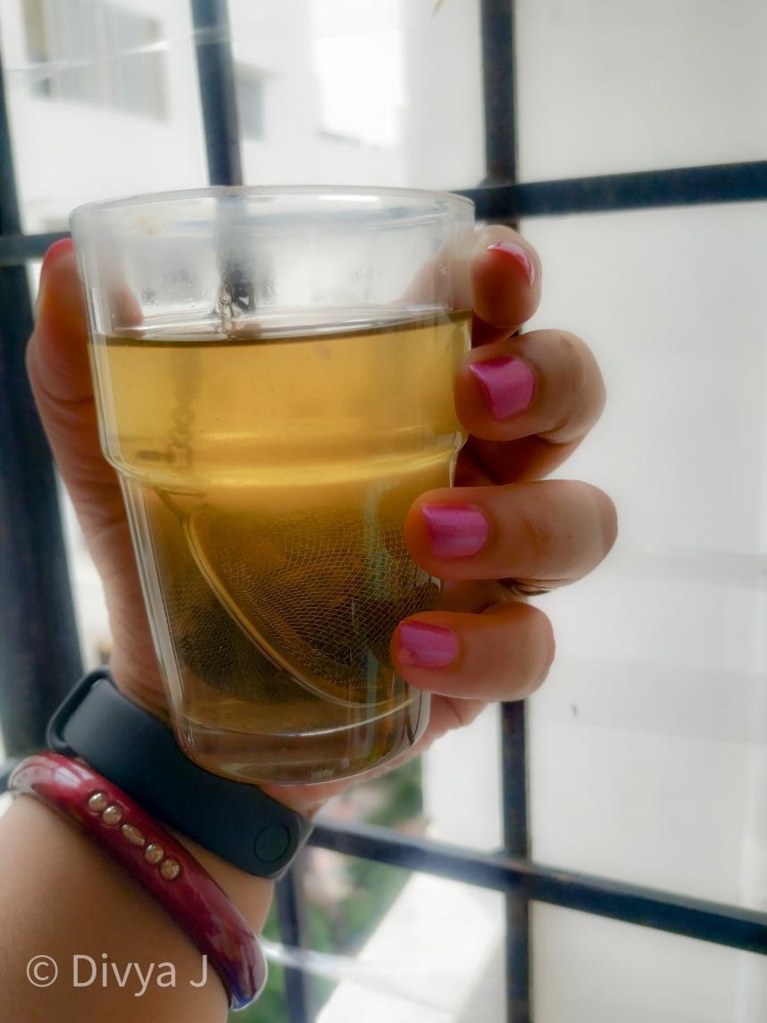 Glass shot of Saffron Kahwa Green tea from Teatrunk