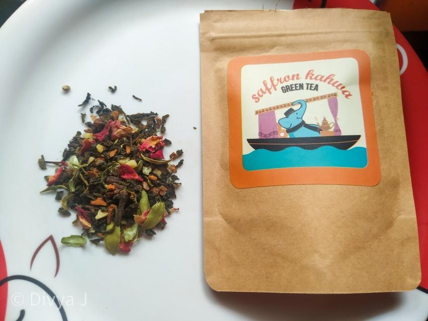 Saffron Kahwa Green tea from Teatrunk in its sampler pack