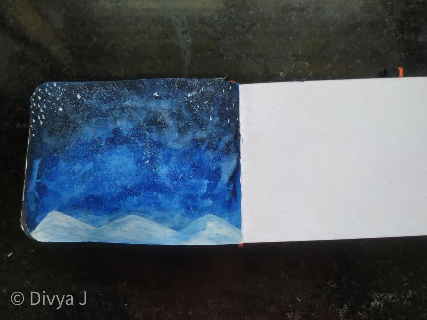 Watercolor painting on Menorah sketchbook A7 size