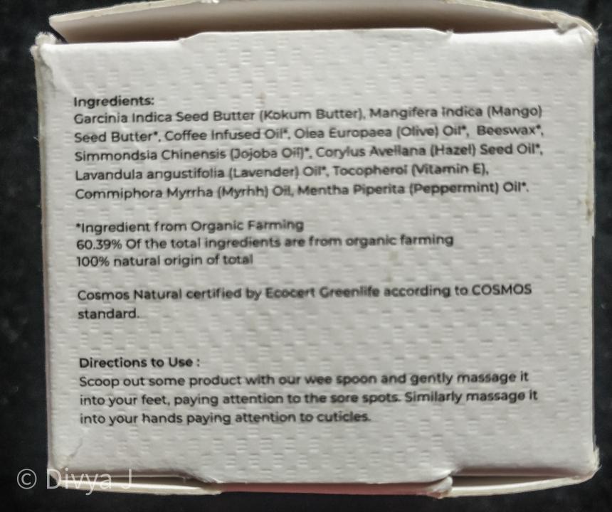 Ingredients list of Juicy Chemistry Kokum Myrrh Hazelnut Hand and foot cream