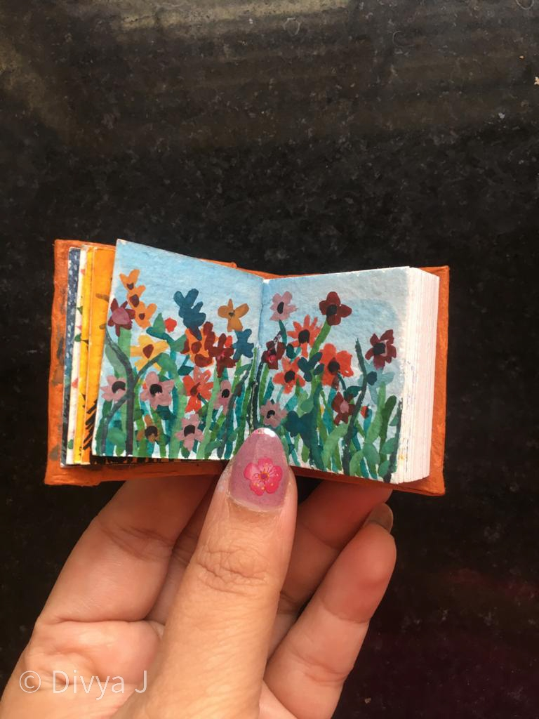 Floral design watercolor painting on Ayush Paper Mini Watercolor book