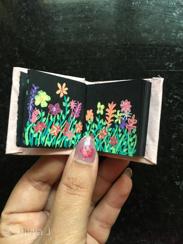 Floral Gardenia Sakura Gelly roll pen doodle on Ayush Paper Mini Black Sketchbook