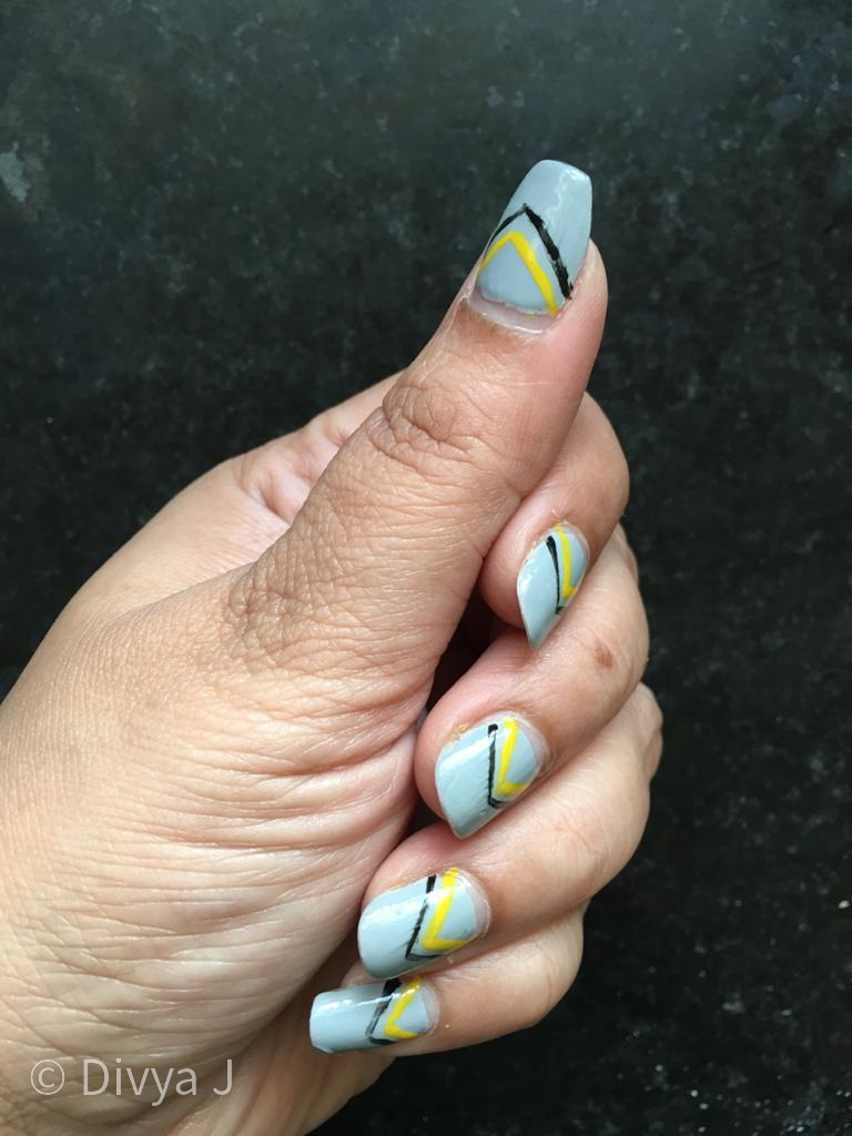 Nail art using Faces Canada Splash Nail Enamel Dove