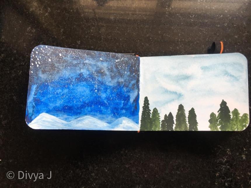 Watercolor painting on Menorah A7 Sketchbook