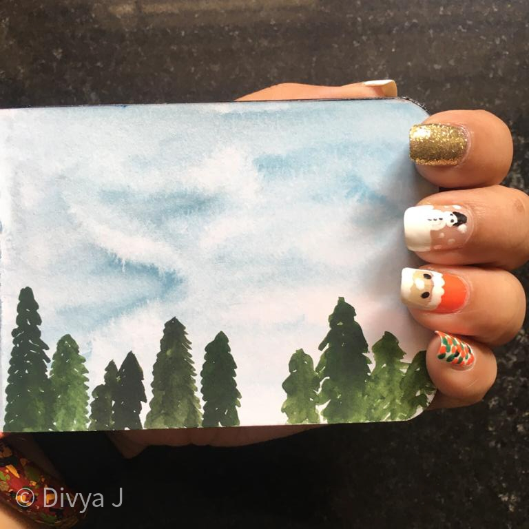 Water color painting on Menorah A7 size Sketchbook